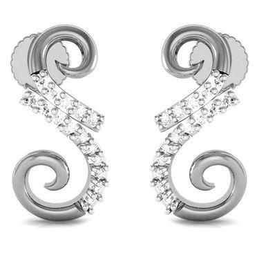 Avsar Real Gold and Swarovski Stone Minal Earrings_Bge054wb