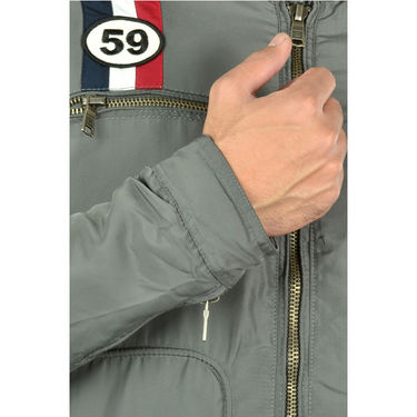 Branded Quilted Leather Jacket_Os18 - Grey