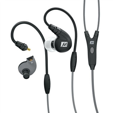 MEE M7P Secure-Fit Sports In-Ear Headphones with Mic, Remote, and Universal Volume(Black)