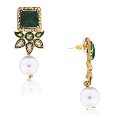 Spargz Kundan Dangling Pearl Earring_Aier164 - Green