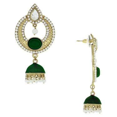 Spargz Antique Designer Pearl Studded Earring_Aier177 - White & Green