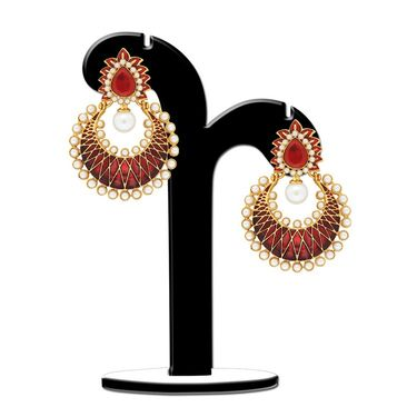 Spargz Chandelier Earring Studded with Pearl_Aier422 - Multicolor