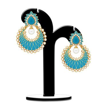 Spargz Chandelier Earring Studded with Pearl_Aier424 - Multicolor