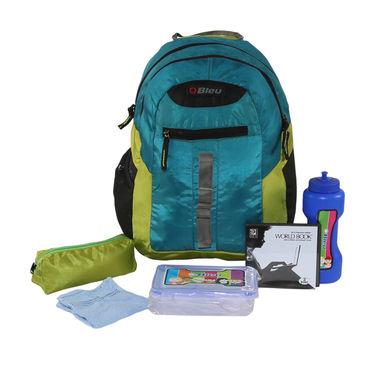 Kids School 17inch Bagpack Combo For Boys Blue & Lime - CB-1402