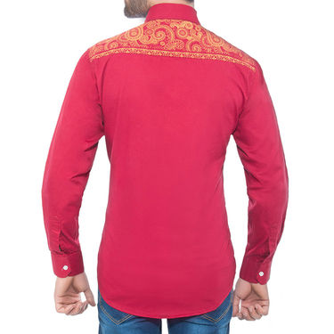 Brohood Slim Fit Full Sleeve Cotton Shirt For Men_A50136 - Red