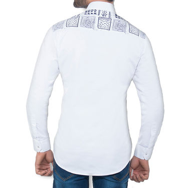 Brohood Slim Fit Full Sleeve Cotton Shirt For Men_A50141 - White