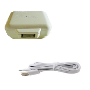 Combo of Flashmob Premium 2Amp Wall Charger With Premium Data Transfer & Charging Cable - White