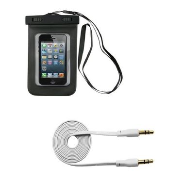 Combo of Flashmob Waterproof  Mobile Pouch for Smartphones With Premium Aux Cable - White