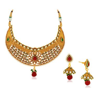 Spargz Brass Metal Necklace Set_Ains081