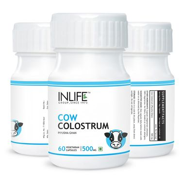 INLIFE Cow Colostrum Supplement 500mg - 60 Veg Caps.