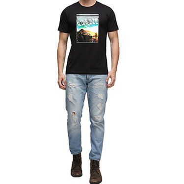 Effit Half Sleeves Round Neck Tshirt_Etscrn008 - Black