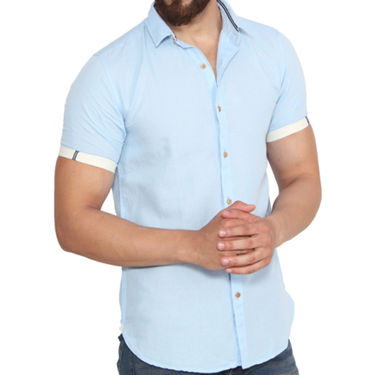 Branded Linen Casual Shirt_Zara02 - Light Blue