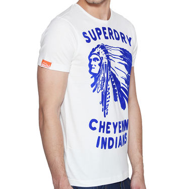 Branded Cotton Casual Tshirt_Sd09 - White & Blue