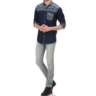 Printed Cotton Shirt_Gkds18 - Blue