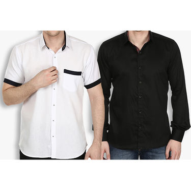 Pack of 2 Stylox Cotton Shirts_3338 - White & Black
