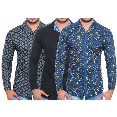 Pack of 3 Printed Cotton Casual Shirts_A50333