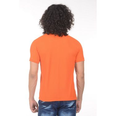 Plain Comfort Fit Blended Cotton TShirt_Ptgdo - Orange
