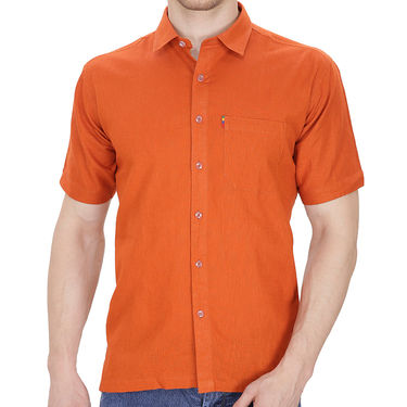 Fizzaro Plain Half Sleeves Stylish Shirt For Men_Fzls101 - Orange