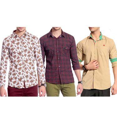 Pack of 3 Good Karma Cotton Premium Designer Shirts_Gkc005 - Mulitcolor
