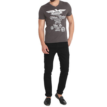 Buffalo Half Sleeves Printed Cotton Tshirt For Men_Bfdg - Dark Grey