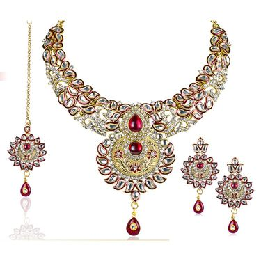 Kriaa Alloy Ethnic Necklace Set With Maang Tikka_2000107 - Red