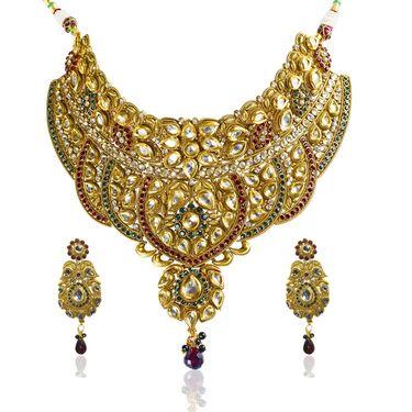 Kriaa Alloy Ethnic Necklace Set_2000120 - Golden