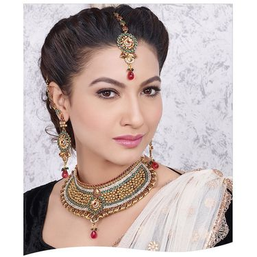 Kriaa Alloy Ethnic Necklace Set With Maang Tikka_2000317 - Multicolor