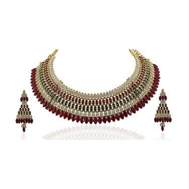 Kriaa Alloy Ethnic Necklace Set_2000307 - Maroon