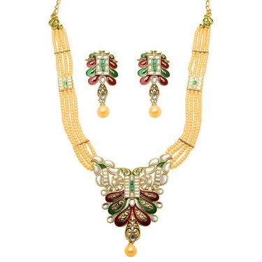 Kriaa Mithya Design Red & Green Meenakari Pearl Necklace Set_2000503