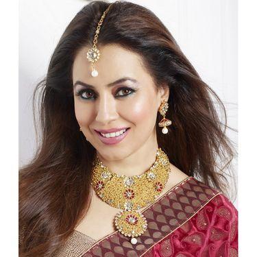 Kriaa Mithya Elegant Design Maroon Gold Finish Austrian Stone Necklace Set with Maang Tlkka_2000504