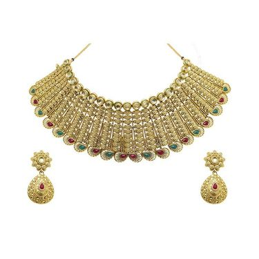 Kriaa Mithya Choker Design Maroon & Green Gold Finish Necklace Set_2000509