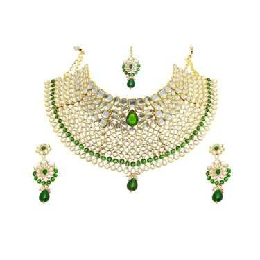 Kriaa Mithya Attractive Design Choker Green & White Kundan Necklace Set with Maang Tikka_2000519