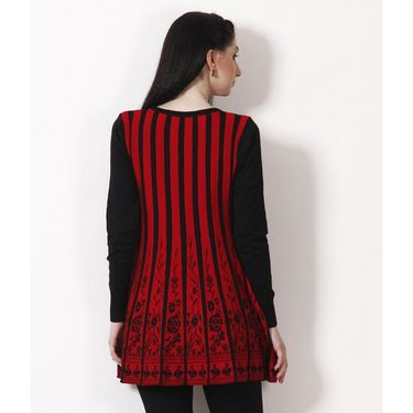 Yellow Tree Designer Woolen Black & Red Full Sleeves Tunic_Yt05
