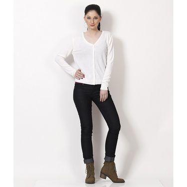 Yellow Tree Plain Acrylic White Full Sleeves Sweater_Yt08