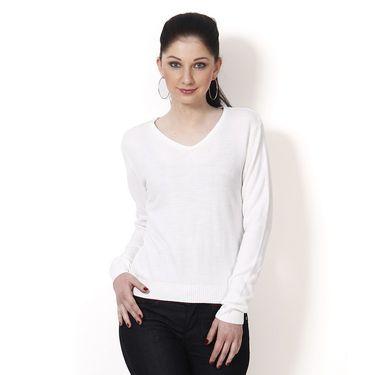 Yellow Tree Plain Acrylic White Full Sleeves Sweater_Yt11