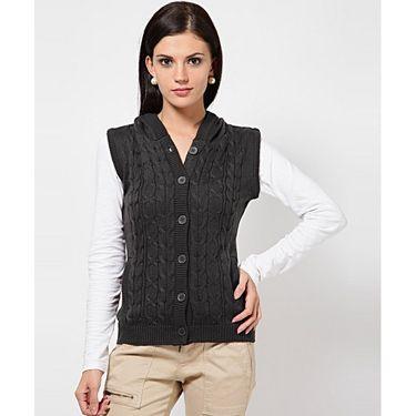 Yellow Tree Plain Wool Grey Full Sleeves Sweater_Yt13