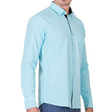 Branded Full Sleeves Cotton Shirt_R12klblu - Blue