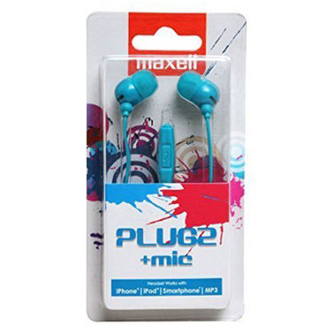 Maxell Plugz with Mic In Ear Earphones for Mobile/iPod/Music Player (Blue)