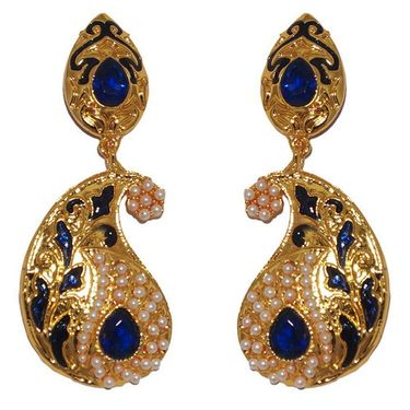 Kriaa Paisley Design Pearl Meenakari Earrings _1303119