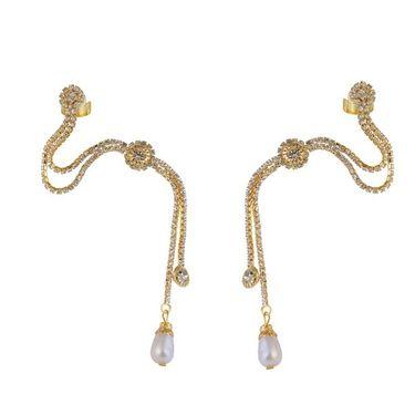 Kriaa Austrian Stone Pearl Drop Ear Cuff  _1303301