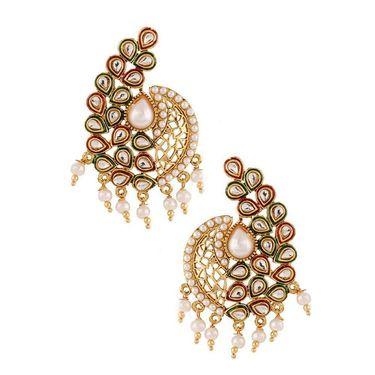 Kriaa Kundan Meenakari Pearl Earrings  _1303743