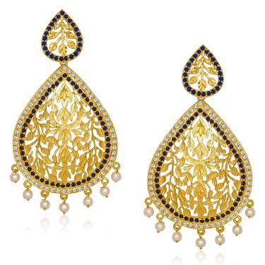 Kriaa Austrian Stone Pearl Dangle Finish Earrings _1305428