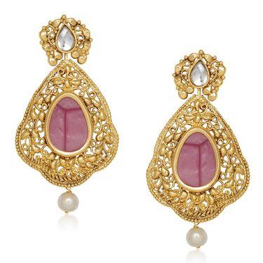 Kriaa Resin Kundan Pearl Drop Dangle Finish Earrings _1305436