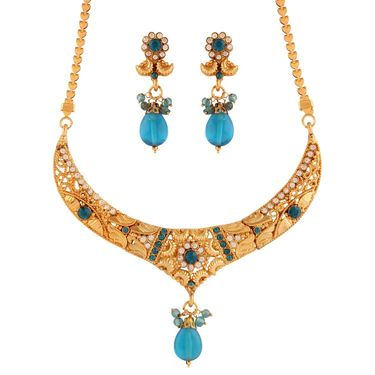 Variation Party Wear Blue Necklace Set_Vd15925