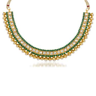 Kriaa Pearl Kundan Green Austrian Stone Gold Plated Necklace Set With Maang Tikka_2100902