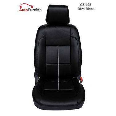 Autofurnish (CZ-103 Diva Black) Fiat Palio (2002-09) Leatherite Car Seat Covers-3001507
