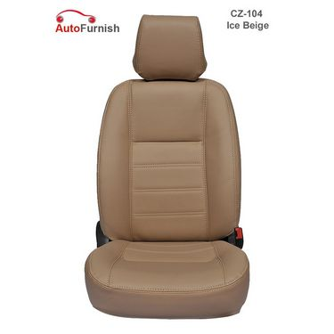 Autofurnish (CZ-104 Ice Beige) Mahindra Scorpio 7S Captain Leatherite Car Seat Covers-3001810