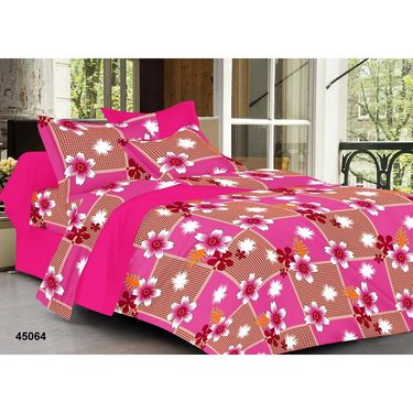 meSleep 100% Cotton pink 1 Double Bed sheet 2 Pillow cover-45064-1