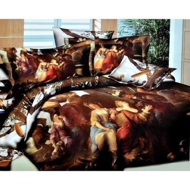 Valtellina Forest Painting 4D Print Double Bed Sheet With 2 pillow covers-4FG-15