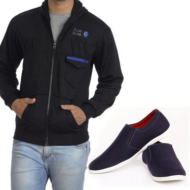 Combo of  Blended Sweatshirt + Casual Shoes - Blue & Black